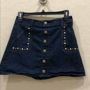 Girls jean skirt with studs